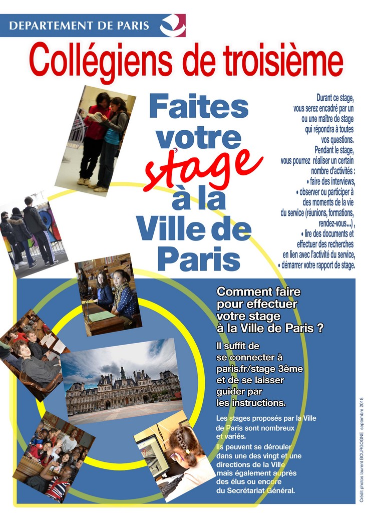 Stage Collegiens De 3eme Portail Des Colleges Ville De Paris